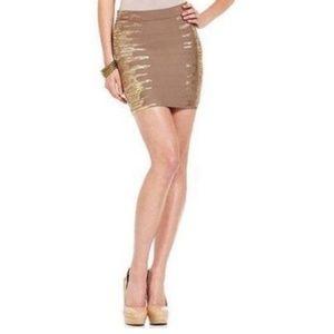 Guess tan gold metallic pencil bandage skirt